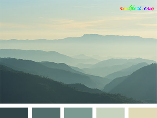 Tozlu yeşil Renkler renk kodları, manzara fotoğrafı renk paletleri ve web renkleri