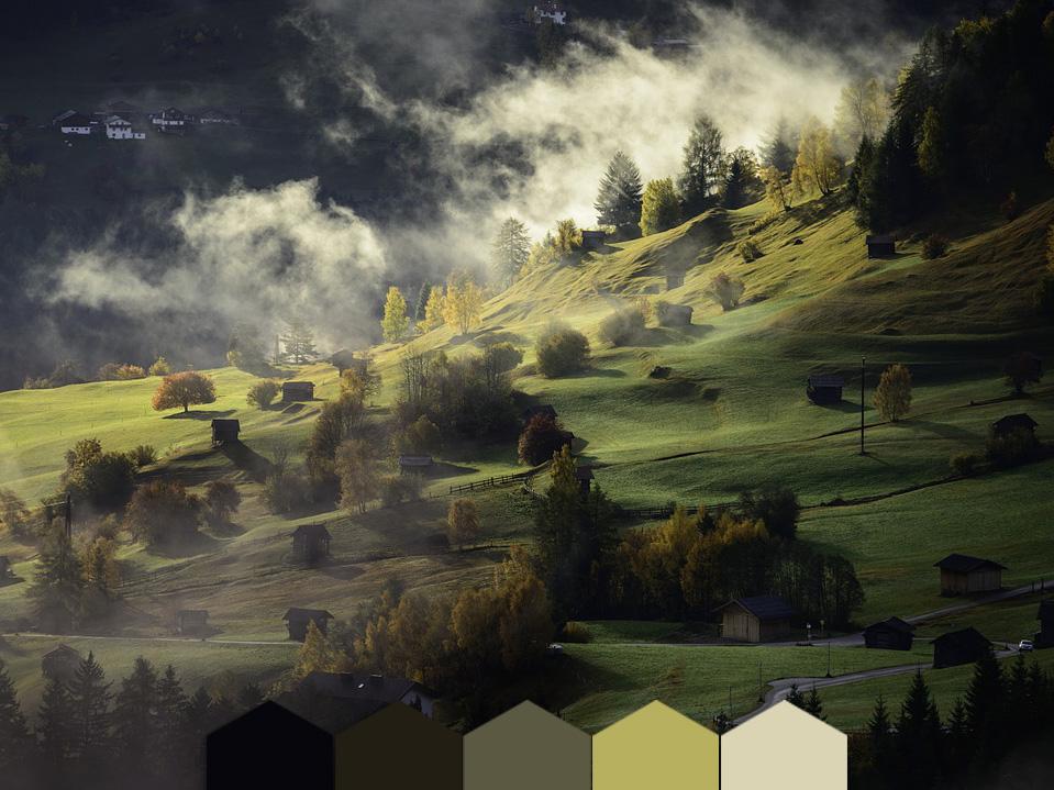 Yayla renkleri, manzara renk paleti