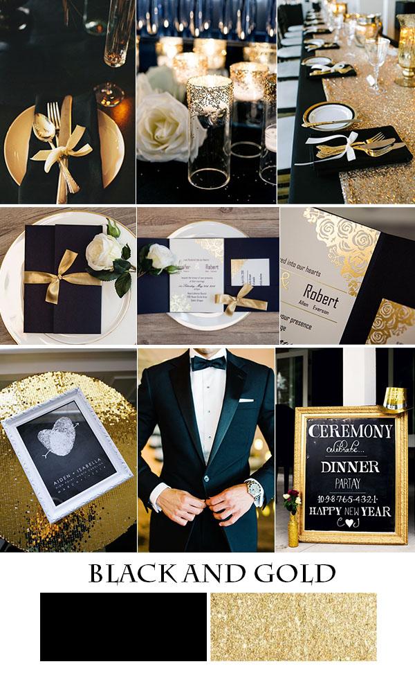 altın varak düğün davetiyeleri ile şık altın ve siyah düğün tavsiyesi