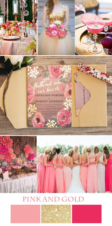 davetler renkli pembe ve altın düğün fikirler