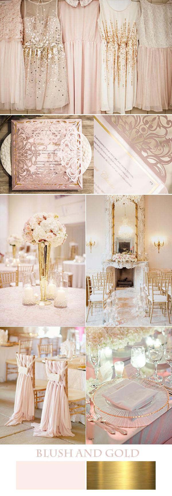 zarif allık pembe ve altın düğün fikirleri