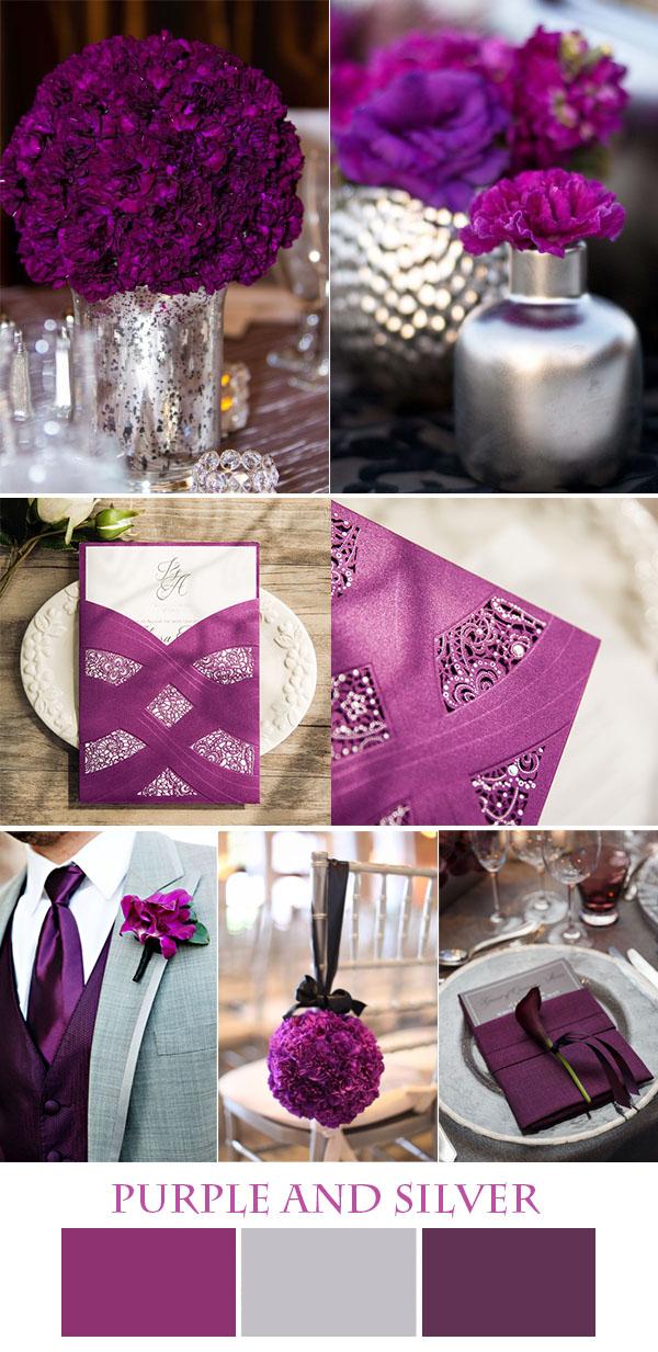 mor ve gümüş düğün renk ilham ve muhteşem davetiyeleri